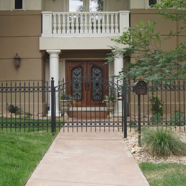 home front entry with a Honduran Mahogany door