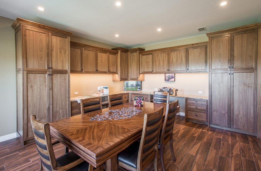 hobby room custom walnut cabinetry