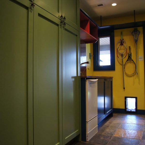 custom colorful mudroom cabinetry and storage solutions