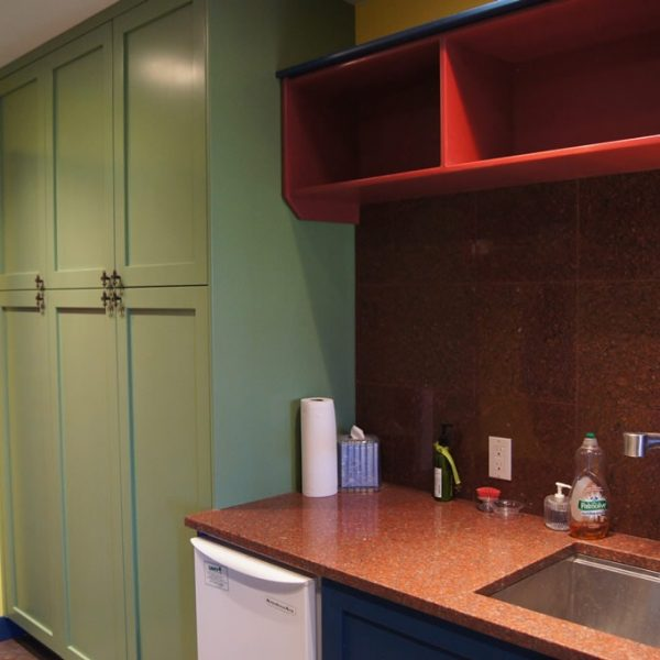 colorful mudroom cabinetry