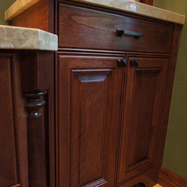 Bathroom Remodel Greenwood In: Custom Cherry Bathroom Cabinetry