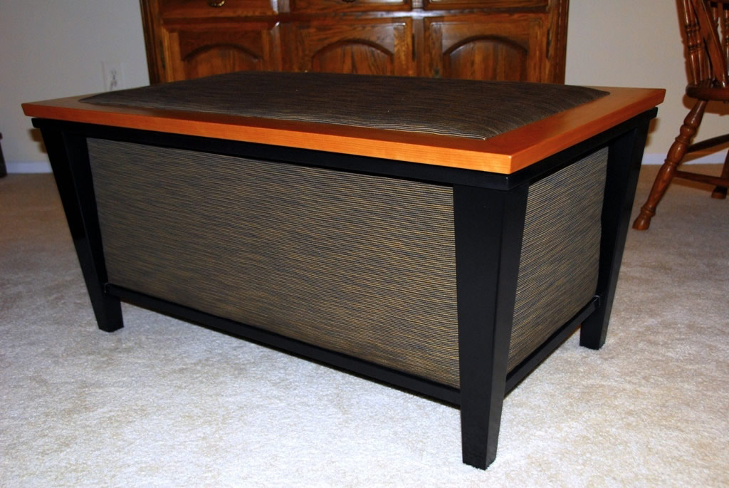Free standing piece - custom blanket chest painted fabric panels, cherry cedar lined
