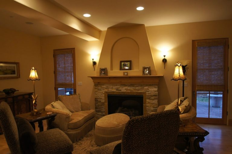 Darth Fireplace - fireplace with stone surround and custom mantel