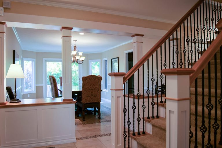 Staircase redesign - custom white and alder dining room cabinetry and matching staircase