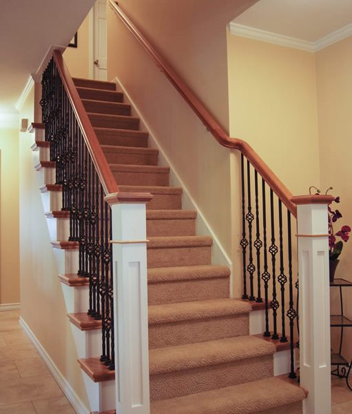 staircase with custom made posts