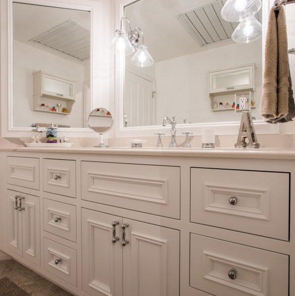custom white painted bathroom vanity