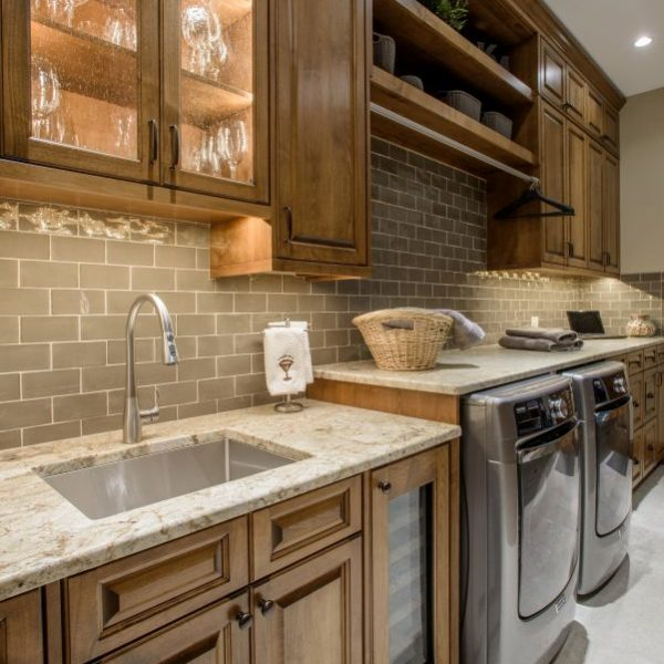 butler's pantry and laundry room remodel with custom alder cabinetry