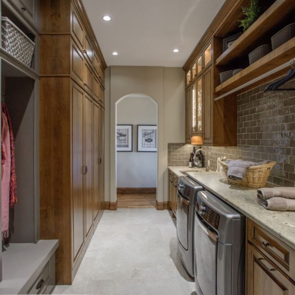 overview of mudroom remodel with grey painted and alder cabinetry