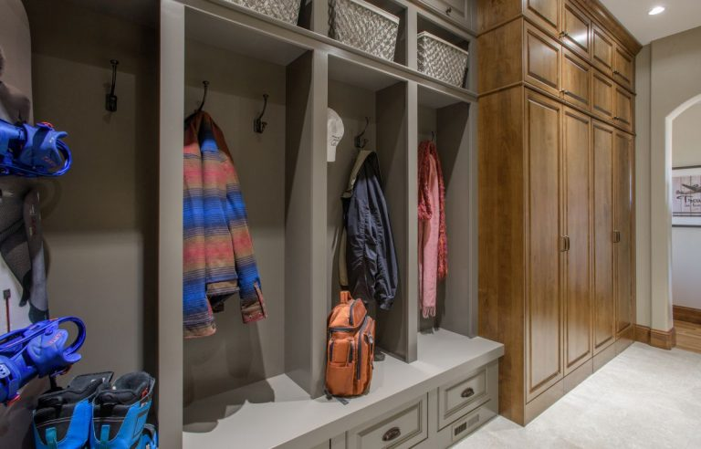 grey painted built-in cubbies and alder cabinetry in custom mudroom remodel in littleton laundry room mudroom butlers pantry