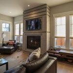 venetian plaster fireplace with walnut trim